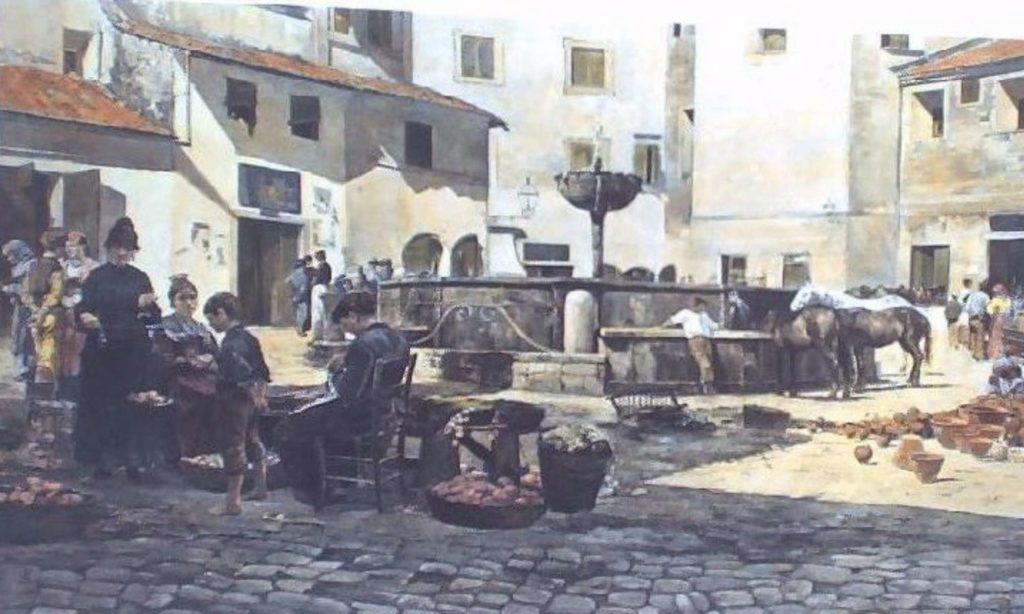 Olio su tela del 1800 che rappresenta Piazza Garibaldi e la Fontana del 1300
