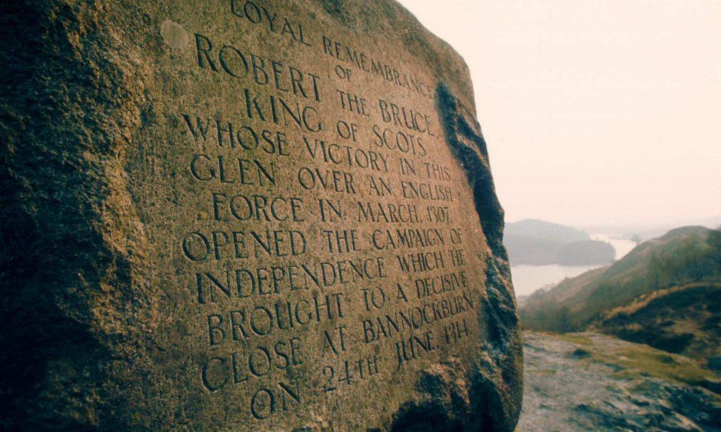 Robert Bruce Iscrizione su pietra presso il Loch Trool Galloway Forest Park