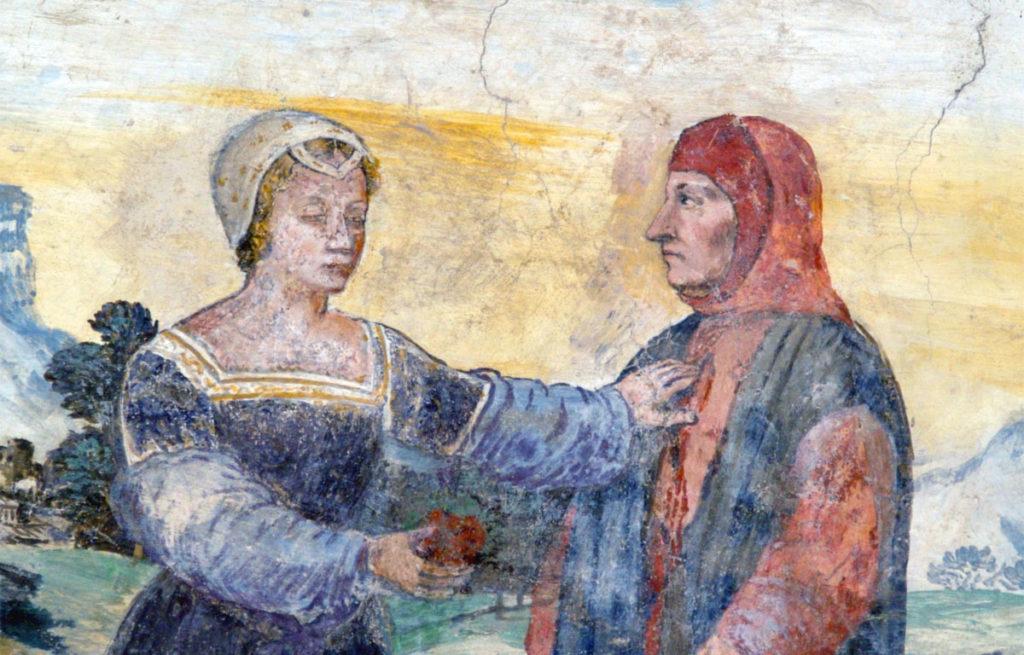 Affresco che rappresenta Francesco Petrarca e la sua amata Laura oggi nella sua casa di Arquà